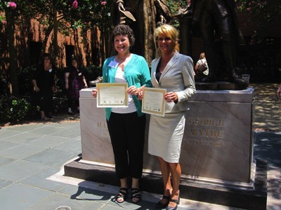 Susan Bruce and Mary Eaddy receive ISEA Certificates