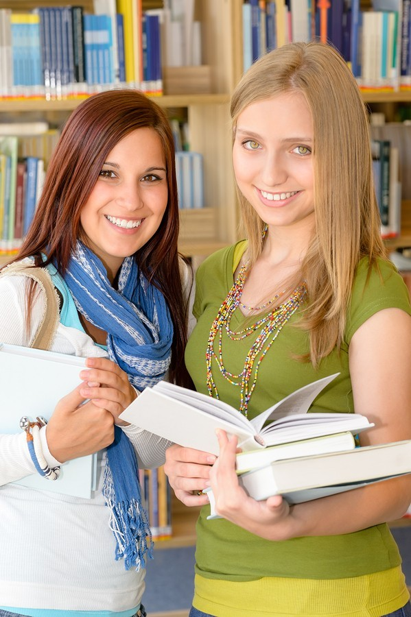 two teen girls at school