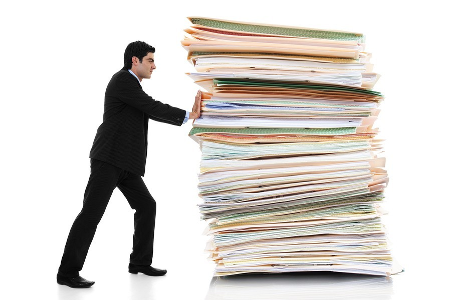 large stack of documents