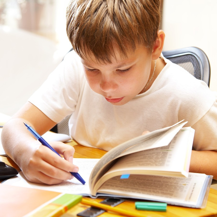 young boy reading at school