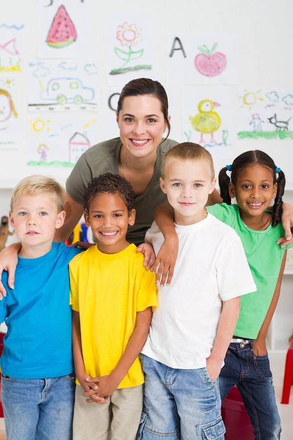 teacher with kids in class