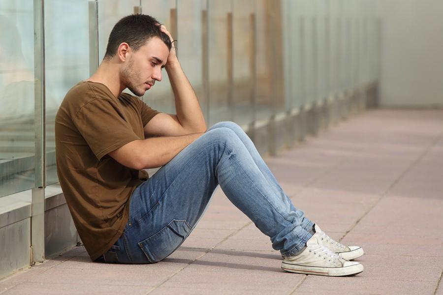 teen boy worried at school