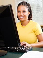 woman studying at computer