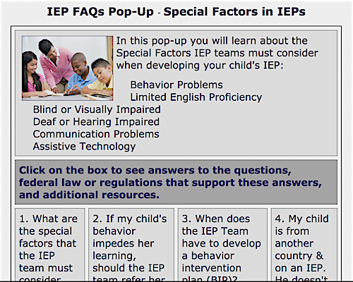 image of IEP PopUp Special Factors in IEPs