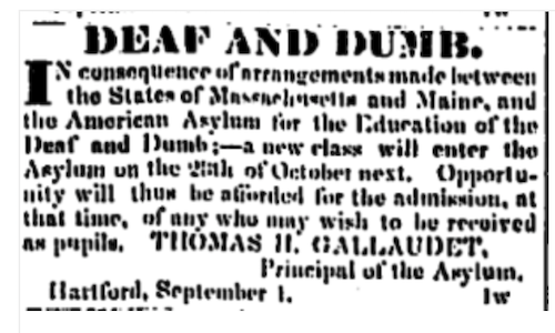 Advertisement for the Asylum for the Education of the Deaf and Dumb in the Connecticut Courant on September 8, 1829