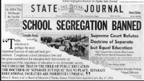 Topeka State Journal Headline: School Segregation Banned
