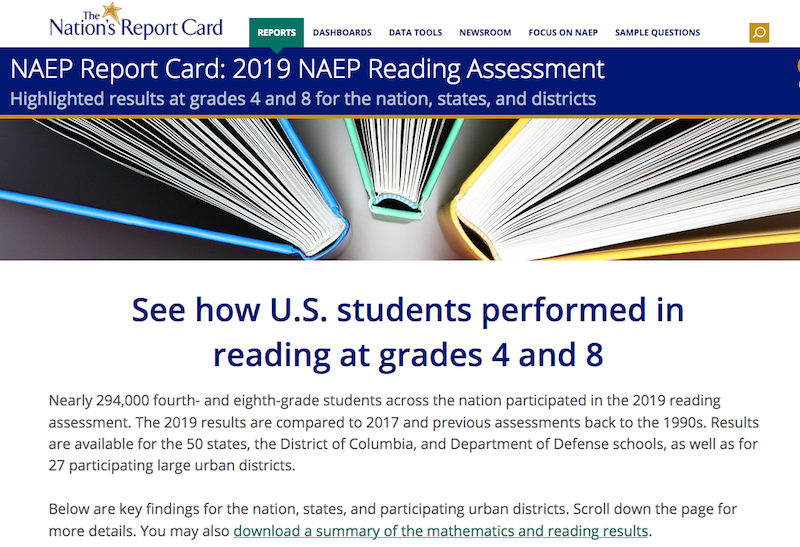 image of NAEP Nations Reading Report Card