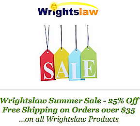 Summer Sale at Wrightslaw 25% Off