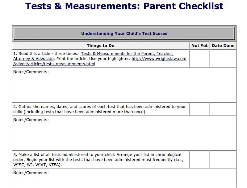 Tests and Measurements Parent Checklist picture