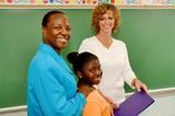teacher parent student at blackboard