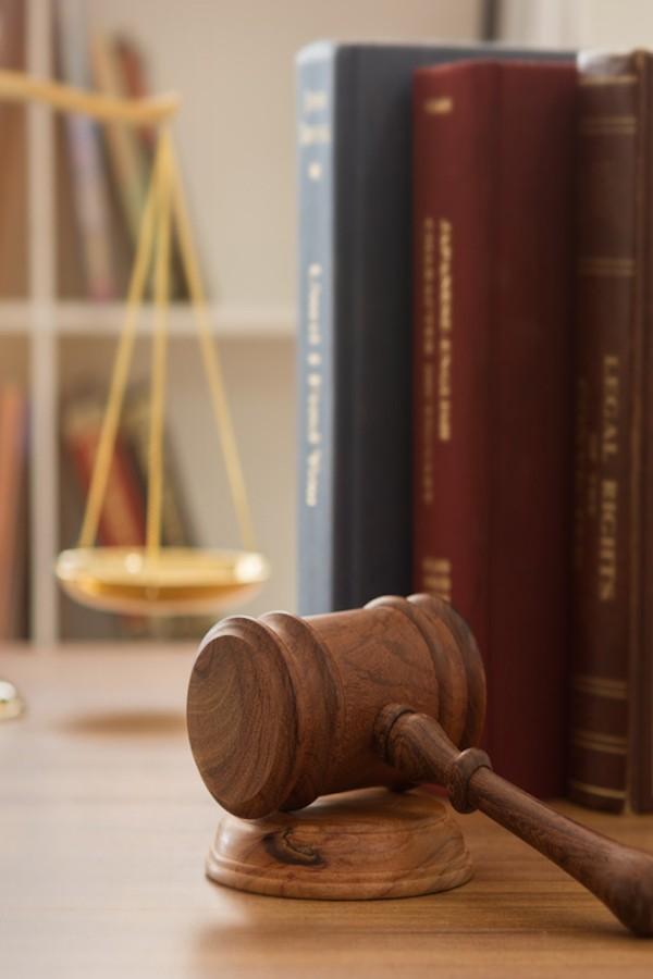 image of gavel, scales of justice and law books