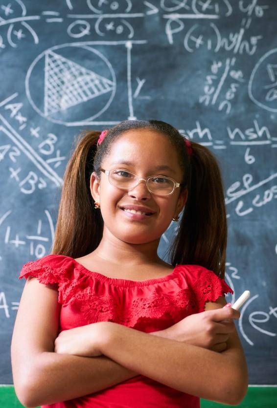 image of girl at blackboard