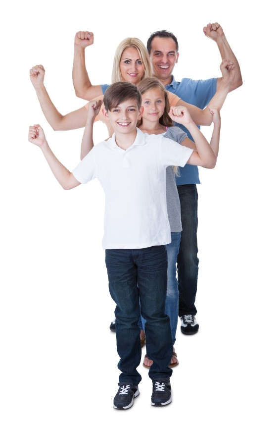 family together hands raised