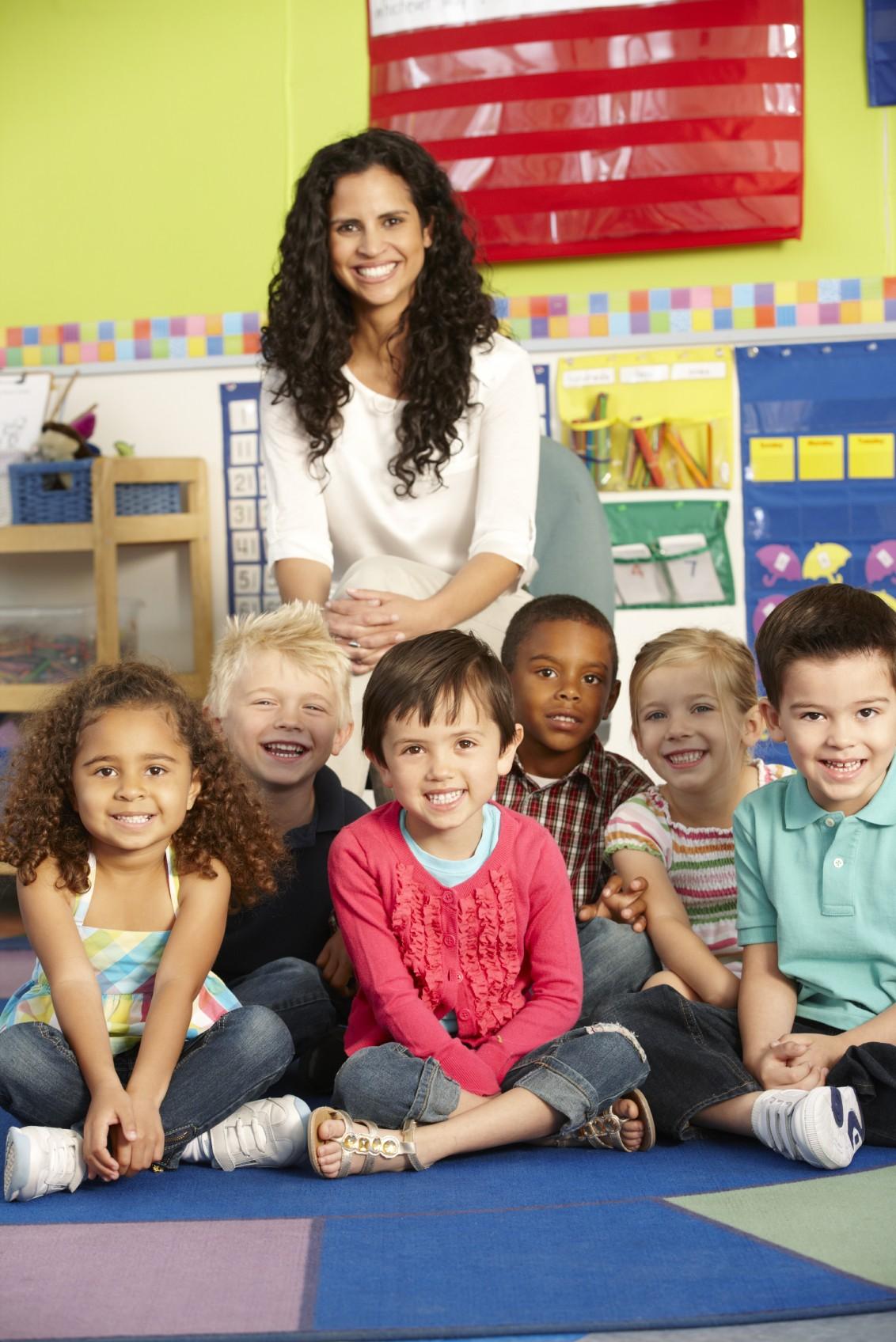 teacher with kindergarten class