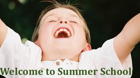 image of boy with open arms, caption reads Welcome to Summer School