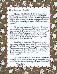 Seventh graders letter to an American Soldier