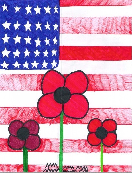 picture of flag and poppies from clyde boyd middle school