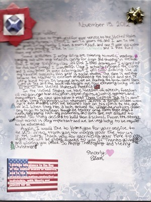 letters to american soldiers from ida price middle school