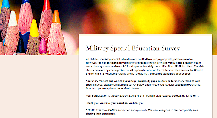 image of military special education survey