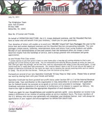 Thank you letter from Operation Gratitude to The Wrightslaw Team