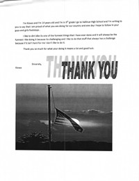 Thank you letter to an American Soldier