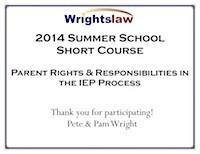 Wrightslaw Summer School 2014 Certificate