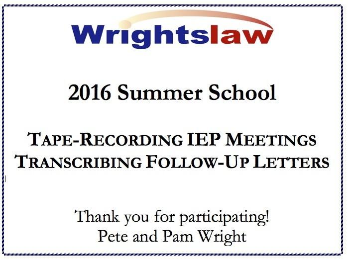 Wrightslaw 2016 Summer School Certificate